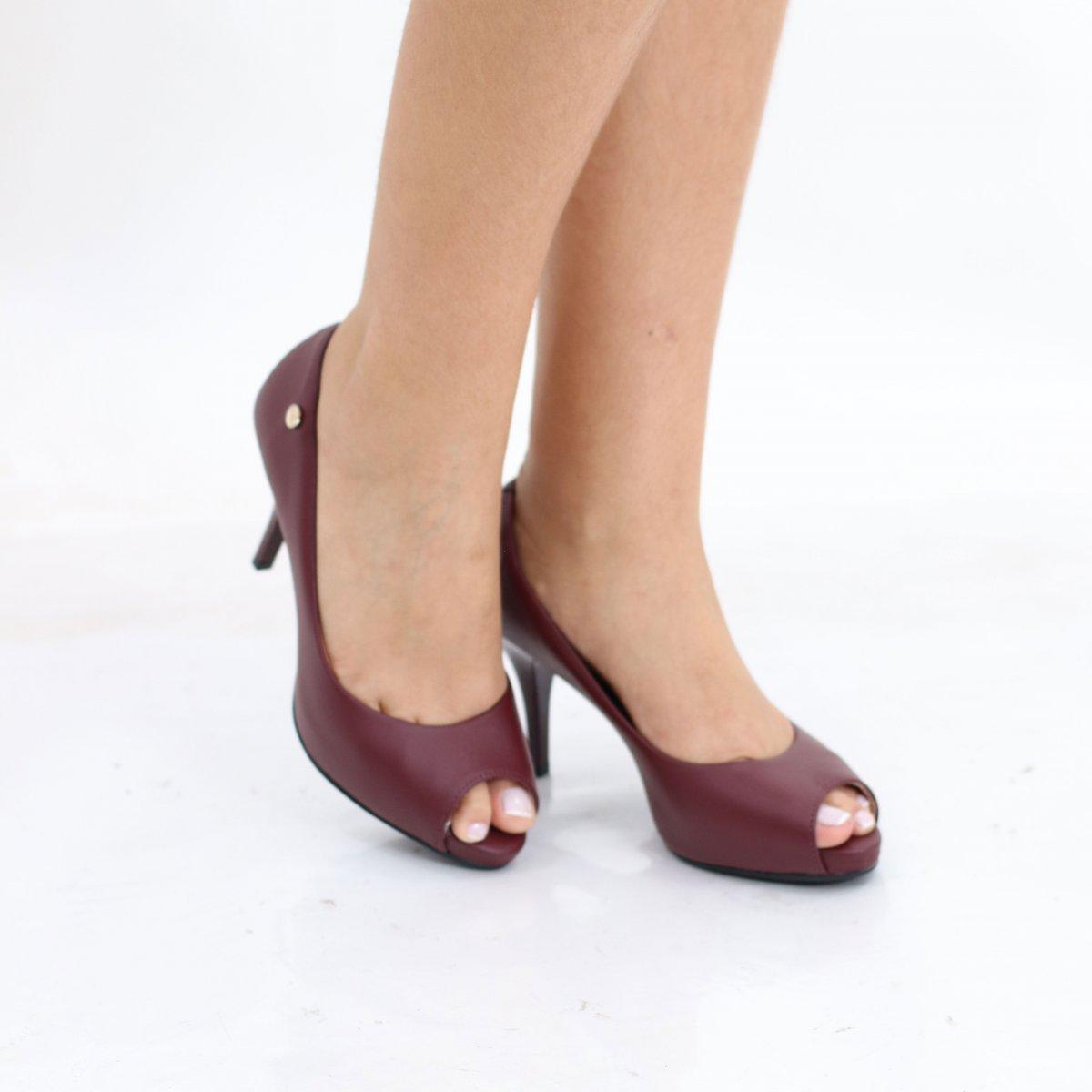 37bc8c7328 Sapato Peep Toe Salto Alto Vizzano Pelica Vinho - MM Concept