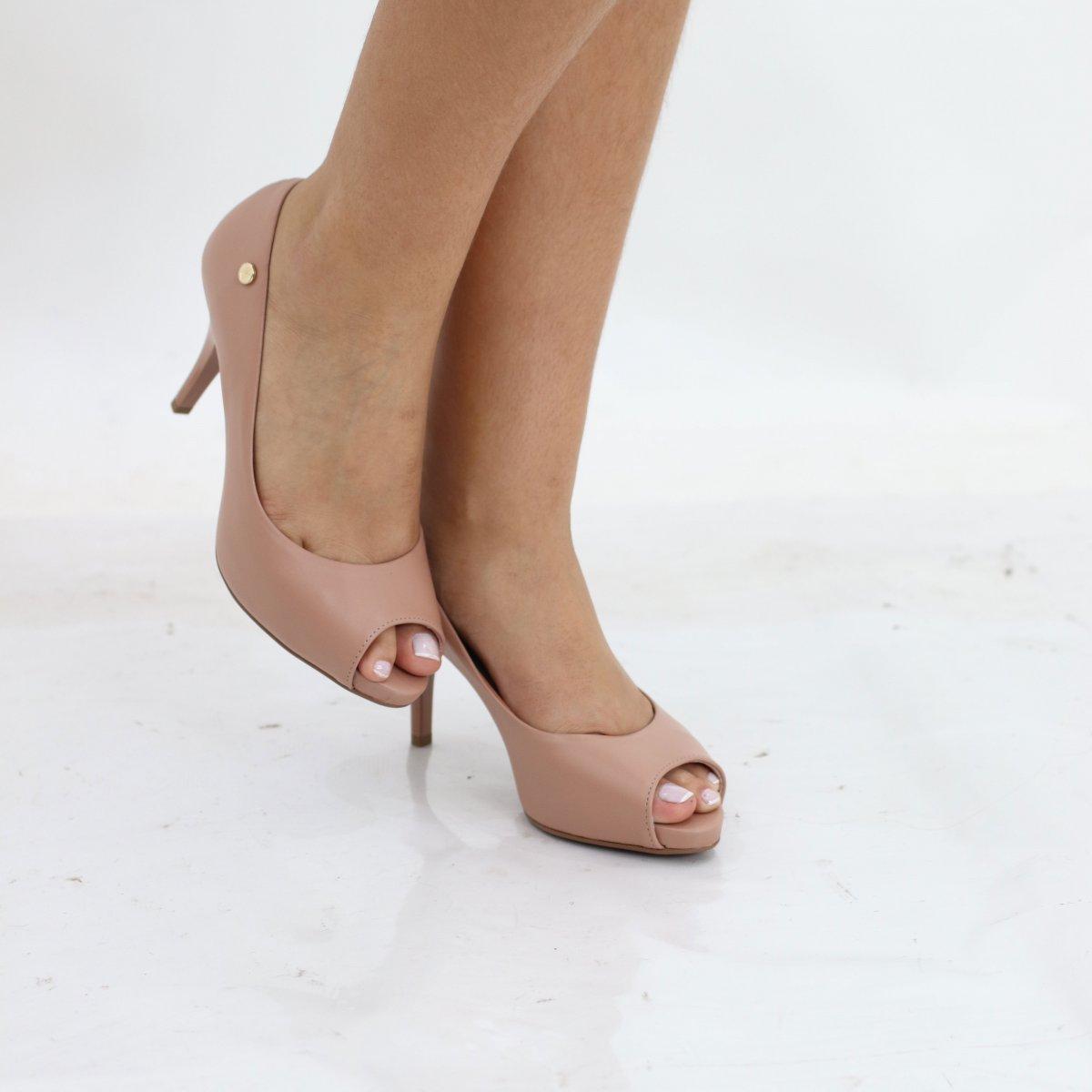 826e5fdba Sapato Peep Toe Salto Alto Vizzano Pelica Nude - MM Concept