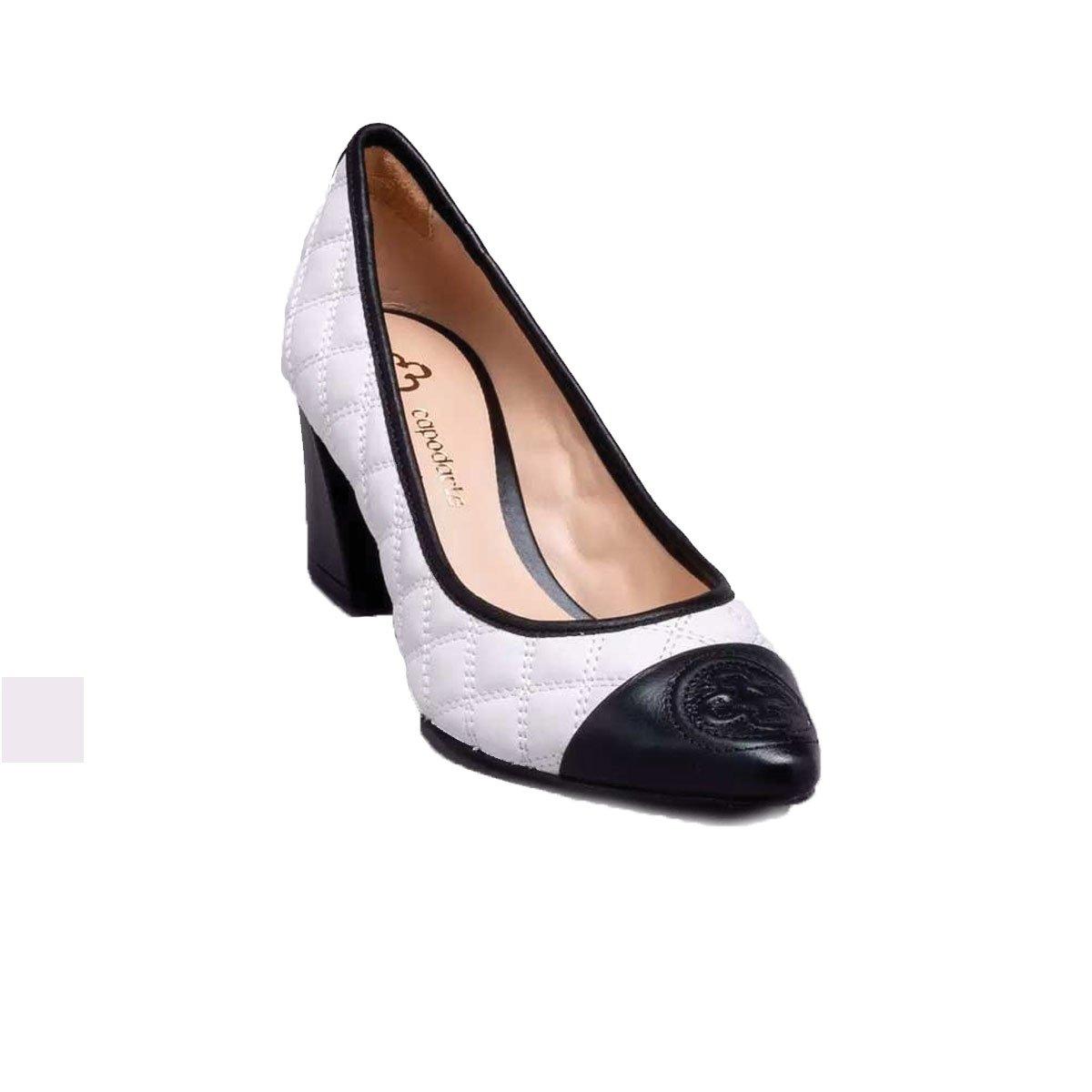 330c8f62124 Sapato Scarpin Capodarte Salto Bloco Bicolor Branco - MM Concept