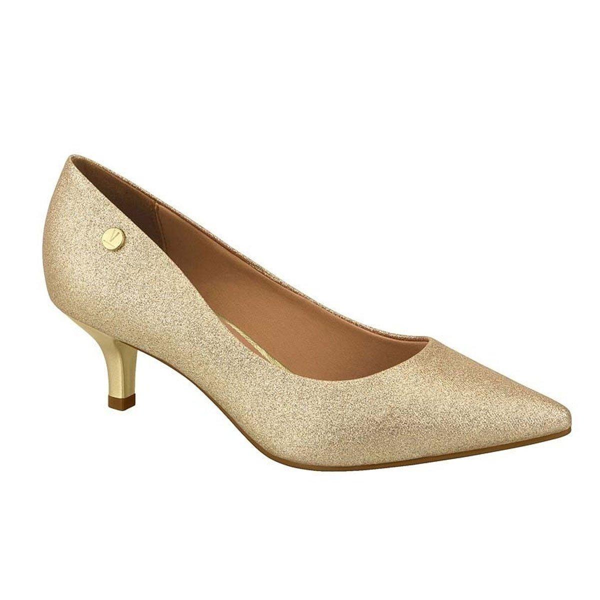 9a341966e Sapato Scarpin Dourado Glitter Salto Baixo Vizzano Dourado - MM Concept