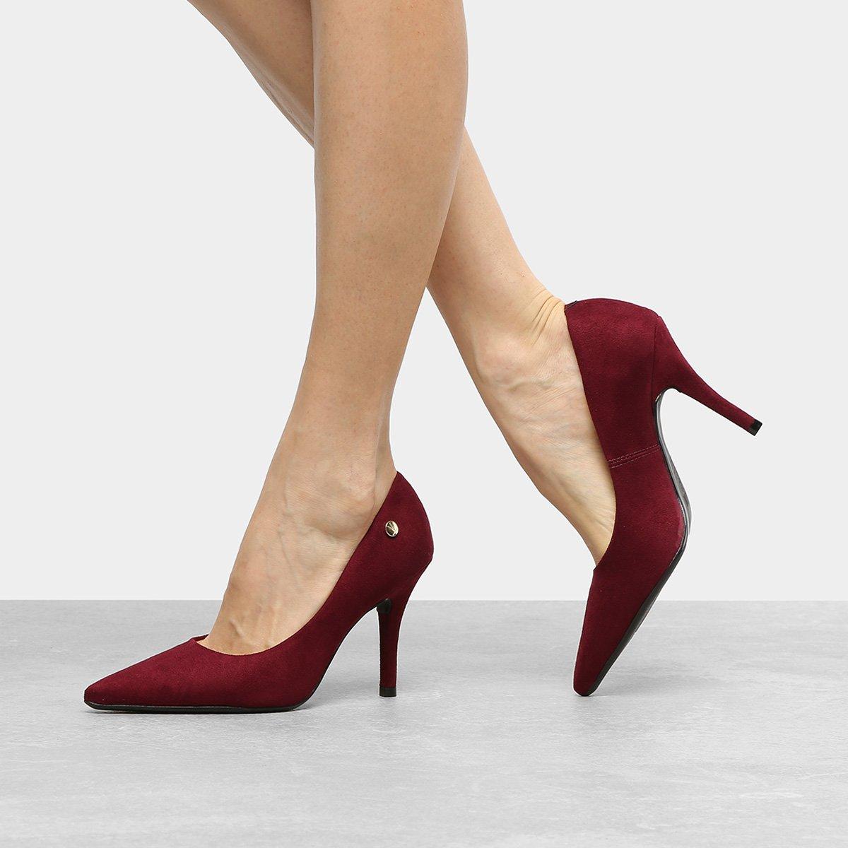 a7fe53f6f5 Sapato Scarpin Salto Alto Vizzano Nobuck Vinho - MM Concept