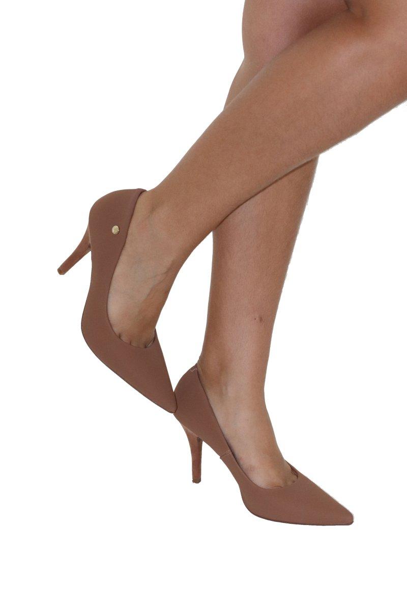 490e5f4d67 Sapato Scarpin Salto Alto Vizzano Nobuck Camel - MM Concept