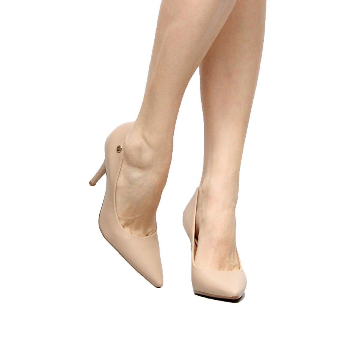 5463dca46 Sapato Scarpin Salto Alto Vizzano Pelica Bege - MM Concept