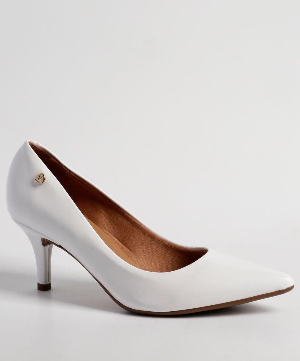 971722bfa3 Sapato Scarpin Salto Médio Vizzano Verniz Branco - MM Concept