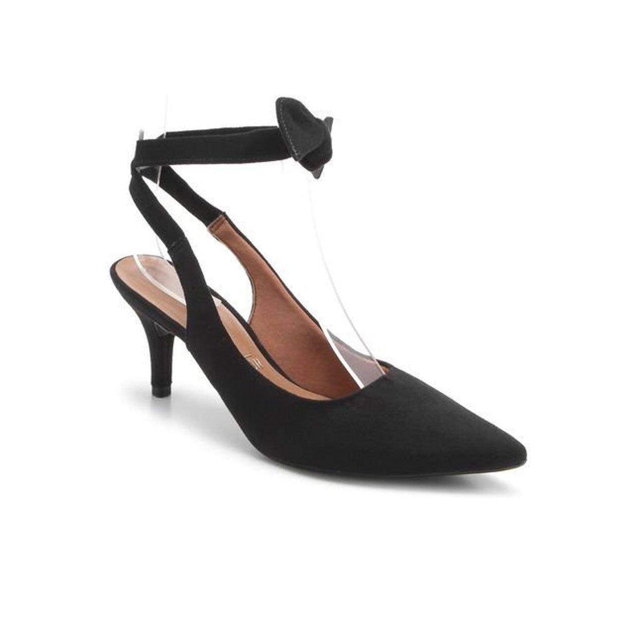 963624ec67 Scarpin Chanel Vizzano Salto Médio Amarrar no Tornozelo Preto - MM Concept