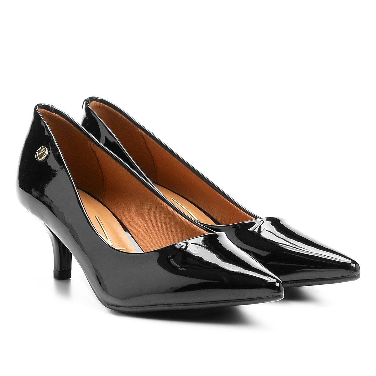 e9bc69c7ab Sapato Scarpin Salto Baixo Bico Fino Verniz Vizzano Preto - MM Concept