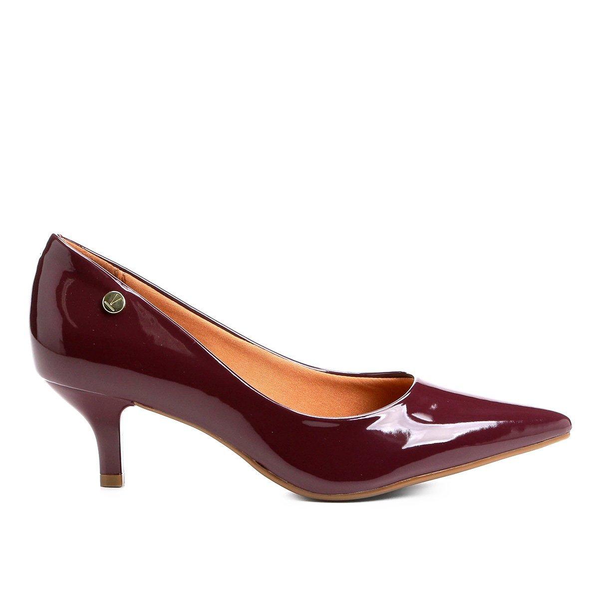 fea6243fde Sapato Scarpin Salto Baixo Bico Fino Verniz Vizzano Marsala - MM Concept