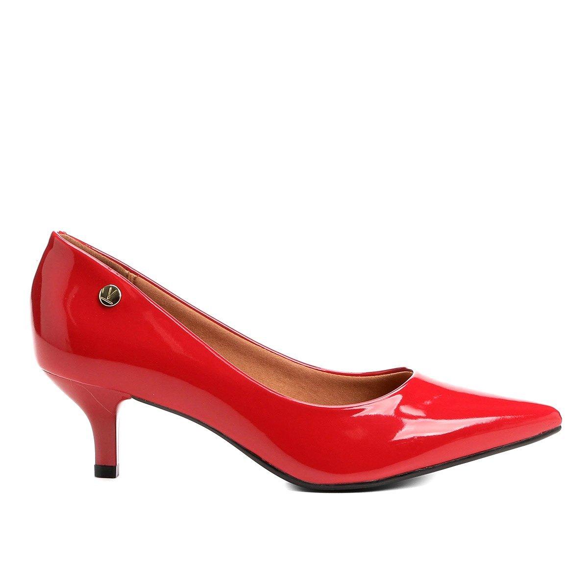 00f88741b6 Sapato Scarpin Salto Baixo Bico Fino Verniz Vizzano Vermelho - MM Concept