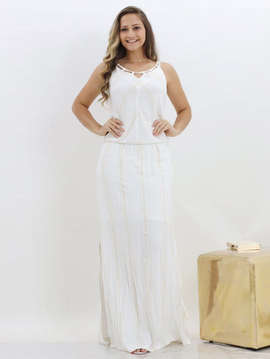 a1c93f2090 Vestido Branco Longo Feminino Vscose Com Brilho
