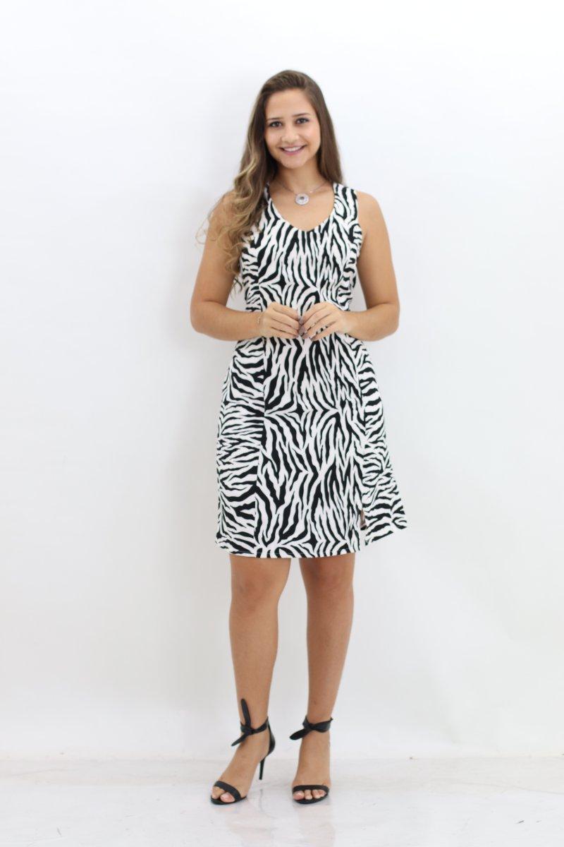 ed9c7df053 Vestido Estampa Zebra Manga Curta Planchet Preto e Branco - MM Concept