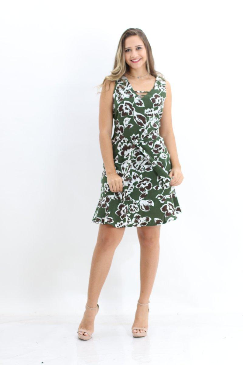 598183aff425 Vestido Estampado Sem Manga com Amarração Planchet Verde - MM Concept