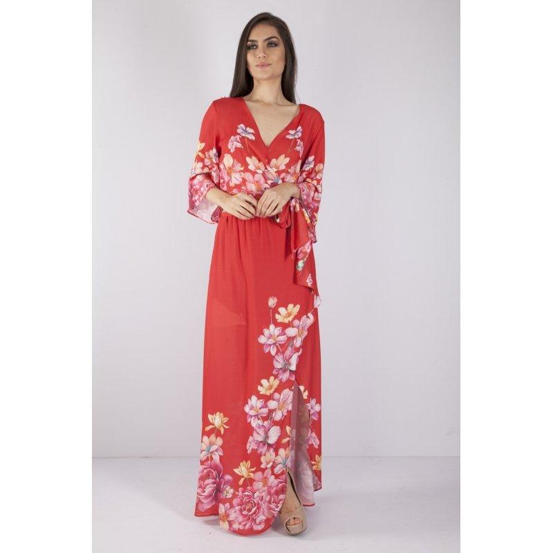 fd773f55f3 Vestido Longo Bana Bana Vermelho Estampa Floral