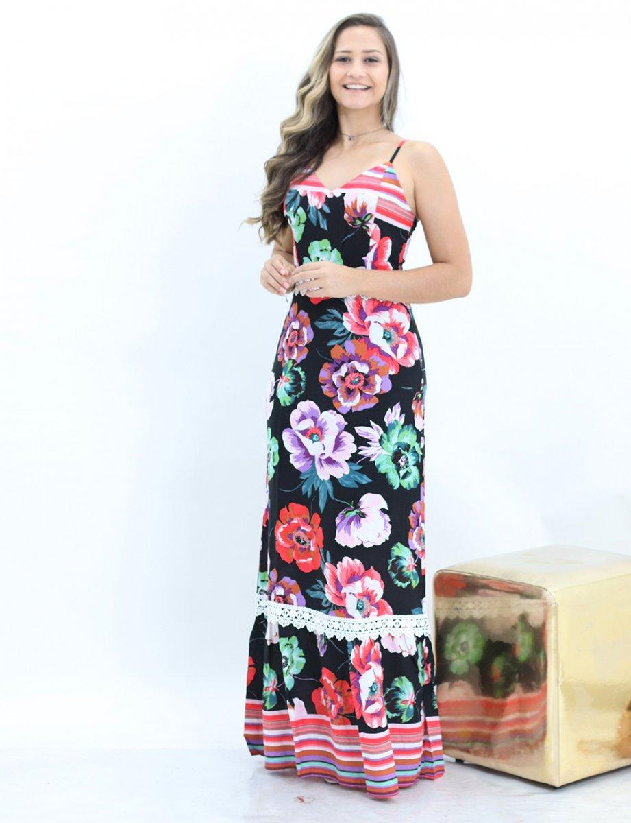 53703ce32601 Vestido Longo Estampado Floral Com Babado