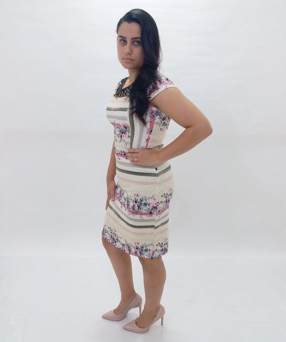 7902d4d8b Vestido Estampado Tubinho Suplex - Moda Evangélica