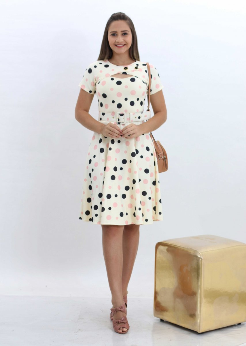 1d5e68fbf Vestido Godê Feminino Com Cinto Moda Evangelica Creme - MM Concept