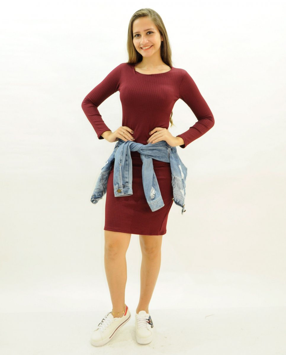 Vestido Feminino Canelado Manga Longa