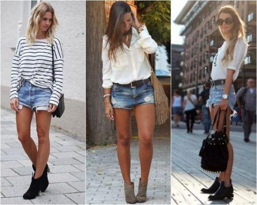 look bota cano curto com shorts