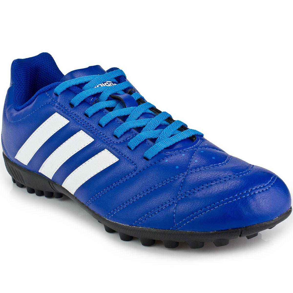 chuteira adidas goletto 5 tf society masculina preta / azul