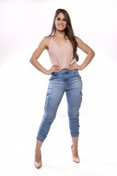 Imagem - calça cargo feminina com elástico na barra - 170339
