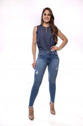 Imagem - calça jeans feminina detonada com barra recortada - 170335