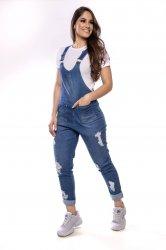 Imagem - macacão jeans detonado bolso quadrado - 5043