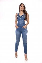 Imagem - macacão jeans detonado com barra desfiada  - 5042
