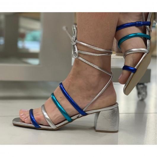 Sandalia Tirinha Azul Prata