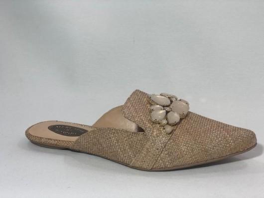 Mule Rafia Pedras Creme