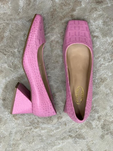 Sapato Quadrado Croco