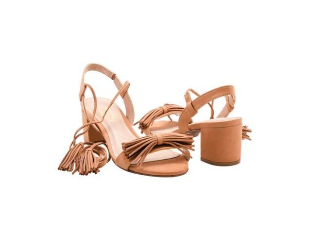 b116431735 Sandalia Salto Medio 1818624 - Bege - Mercado do Sapato