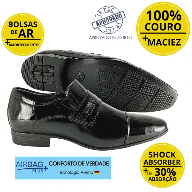 Sapato Masculino Social Couro Jota Pe Verniz Air Tissot