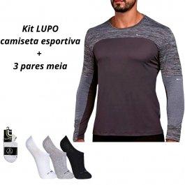 Imagem - Camiseta Dry Fit Lupo Masculina Manga Longa + Kit 3 Meias Lupo