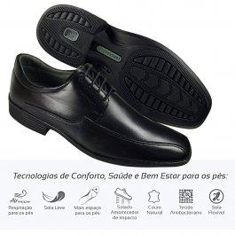 Imagem - Sapato Masculino Social Couro Leve Comfort De Amarrar
