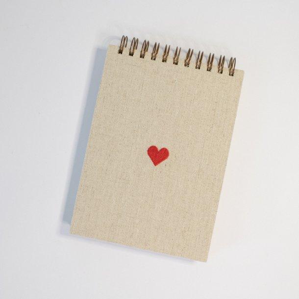 bloco de notas em linho cru - coleção coração - MIM papelaria