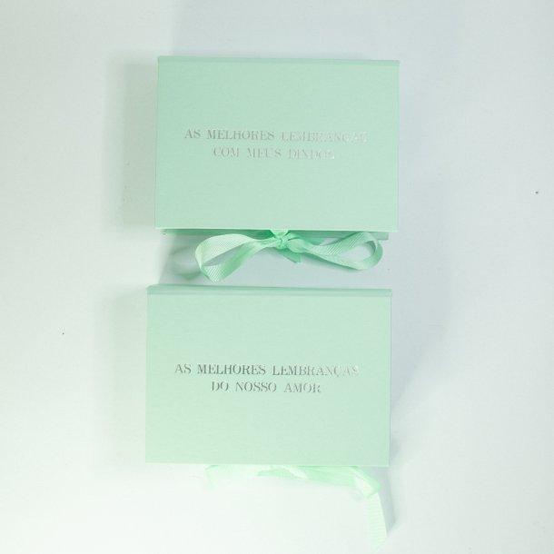 caixa para fotos p verde menta - melhores lembranças - mim papelaria