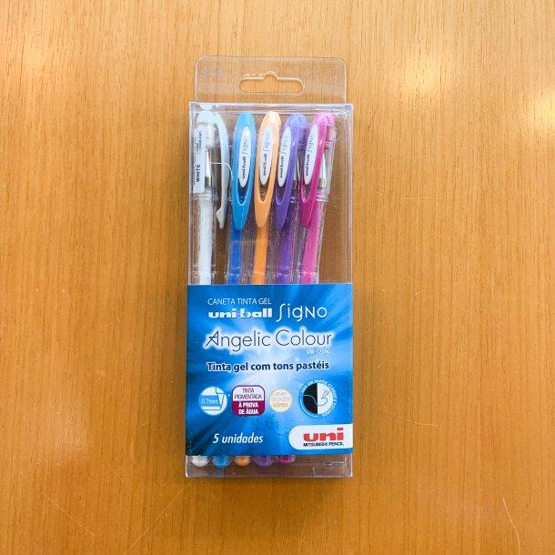 kit caneta gel uni-ball signo - tons pastéis - mim papelaria