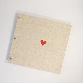 Imagem - álbum de fotos big pino em linho cru - coleção coração - mim papelaria