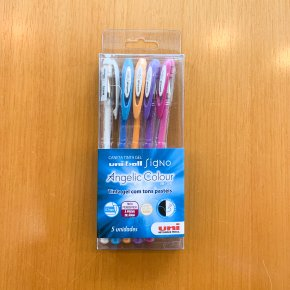 Imagem - kit caneta gel uni-ball signo - tons pastéis - mim papelaria
