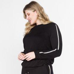 Imagem - Blusa em malha com bolso canguru e listra lateral