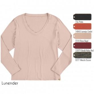 Imagem - Blusa de Malha Canelada Feminina Lunender - 1679005_156-PRETO REATIVO