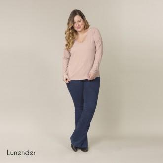 Blusa de Malha Canelada Feminina Lunender