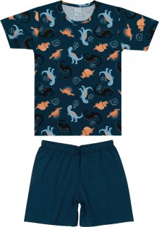 Imagem - Pijama Masculino Infantil de Malha - Malwee Kids - 784800_BJ40B-AZUL-BJ40B-AZUL