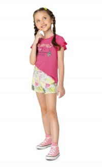 Conjunto Feminino Infantil De Malha Com Textura  - Malwee Kids ;