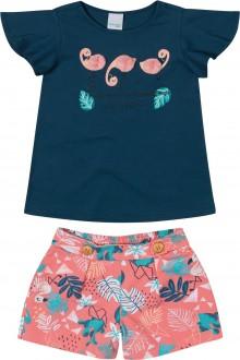 Imagem - Conjunto Feminino Infantil De Malha Com Textura  - Malwee Kids ; - 784818_1551--AZUL ESCURO