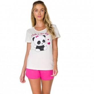Imagem - Pijama Adulto Feminino de Malha - BELA NOTTE - 1049069_OF W-OFF WHITE