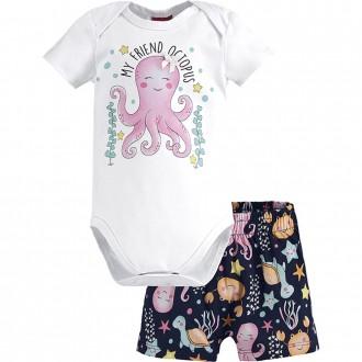 Conjunto Feminino Body e Short Cotton Malha Kyly
