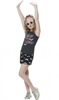 Imagem - Conjunto Feminino Regata Com Shorts Moletinho Infantil - KYLY - 1532303_0472-MESCLA ESCURO