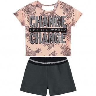 Conjunto Feminino Juvenil Cropped Com Shorts - KYLY