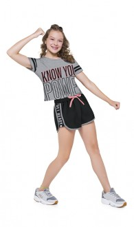 Conjunto Feminino Cropped Com Shorts Moletom - KYLY