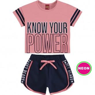 Imagem - Conjunto Feminino Cropped Com Shorts Moletom - KYLY - 1532215_12948-PINK NEON